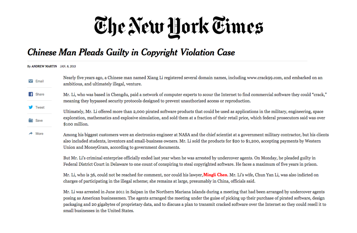 Chinese Man Pleads Guilty in Copyright Violation Case - ML and CHEN